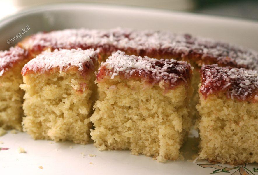 Coconut Jelly Cake Recipe: Recipe: Coconut And Jam Traybake Cake